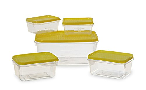 All Time Plastics Polka Container Set, 5-Pieces, Yellow