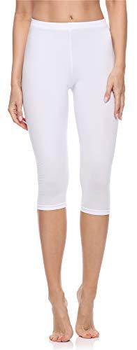 Merry Style Leggings 3/4 Pantaloni Capri Donna MS10-199 (Bianco, L)