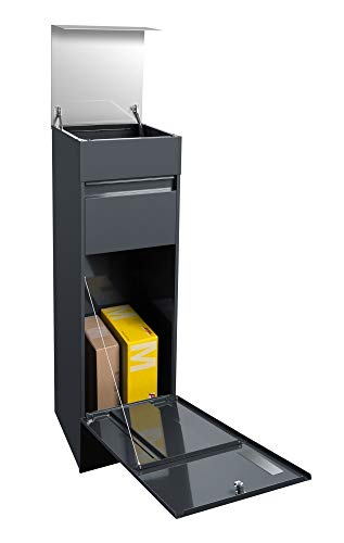 Frabox® Design Paketkasten NAMUR anthrazitgrau RAL 7016 / Edelstahl, mit Hausnummer & Namen - 3