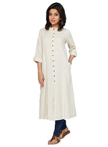 Kurti (Clothfab Women's Pure Cotton 3/4 Sleeve Long Kurti Size : XL White Color)