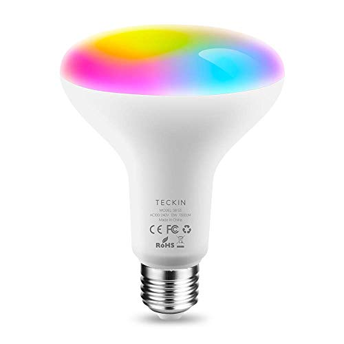 Lampadine Alexa Led E27 WiFi Lampadina Smart,13W 1300LM RGBCW Multicolor Dimmerabile Equivalente 100W,TECKIN Compatibile con Alexa Google Assistant,Intelligente Control BR30 Lampadina con timing1 Pack