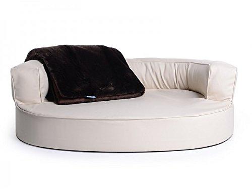 Letto per cani, divano per cani Atlanta in ecopelle, impermeabile, colore nero, scritta lingua...