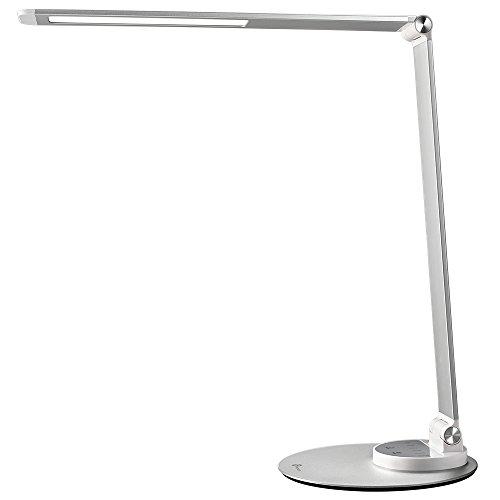 TaoTronics TT-DL22 LED Schreibtischlampe Metall Tageslichtlampe mit 6 Helligkeits- und 3 Farbstufen, Ultradünn, augenschonende LED, Speicherfunktion, USB Ladeanschluss, Energieeffizient Silberweiß