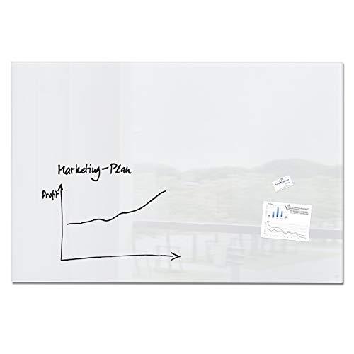 Sigel GL220 Lavagna magnetica di vetro/bacheca di vetro artverum, super bianco, 150 x 100 cm