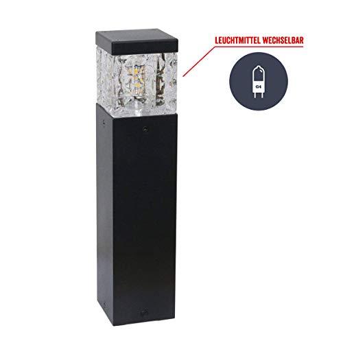 VBLED Sockelleuchten Wegeleuchte Aussenbereich 230V 6W 3000K 30cm hoch warmweißes Licht Gartenleuchte, Standleuchte, Pollerleuchte (Quaderform 230V)