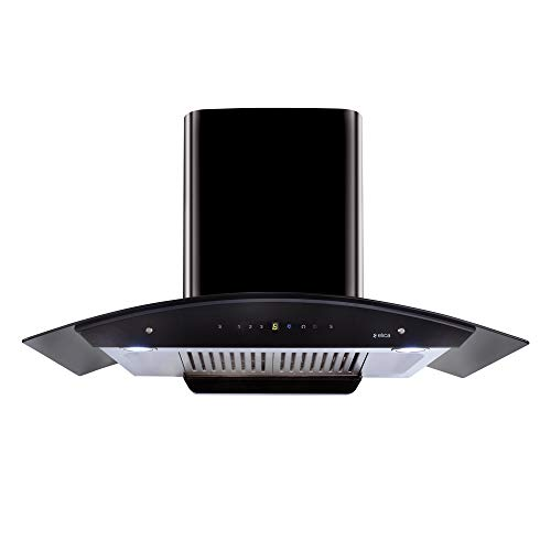 Elica 90 cm 1200 m3/hr Auto Clean Chimney with Free Installation Kit (WD HAC Touch BF 90 MS, 2 Baffle Filters, Touch + Motion Sensor Control, Black)