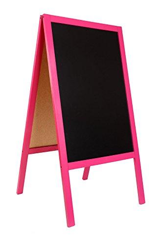 LAVAGNA A CAVALLETTO Insegna di legno da pavimento con lavagna e telaio rosa per ristoranti e bar FL...