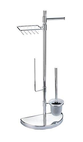 WENKO Raumspar WC-Center, WC-Garnitur mit Ersatzrollen- und Feuchttücher-Halter, 34 x 84.5 x 18 cm, silber glänzend