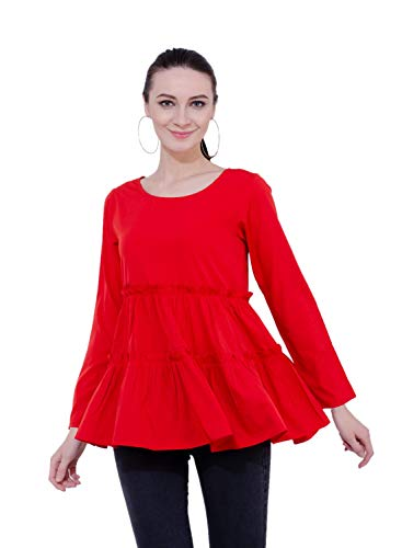 Karmic Vision Women's Crepe Red Casual Top