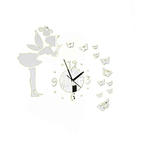 Omkuwl DIY 3D Mariposas Hada Chica Etiqueta de la pared Espejo Relojes de pared Oficina Decoración del hogar