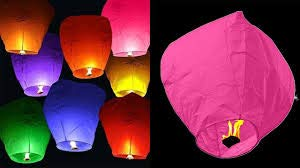 life's better Sky Lantern with Fuel Wax Block Candle Multicolor Paper Sky Lantern (80 cm X 50 cm, Pack of 2)
