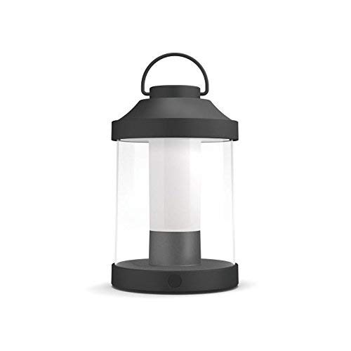 Philips myGarden LED Laterne Abelia, warmweißes Licht, dimmbar, inkl. USB Anschluss, schwarz, für Balkon und Terrasse