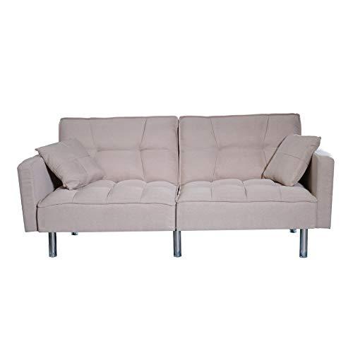 Sofa Divano Letto Crema RECLINABILE in Tessuto Crema 3 POSTI con 2 Cuscini 196 X 65 X 83 CM
