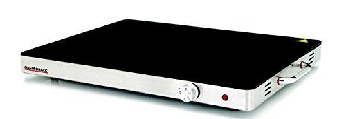 Gastroback 42490 Design Warming Tray, Warmhalteplatte, Speisenwärmer, Tellerwärmer, 400 Watt, extra große Heizfläche 540 x 410 mm, Negro, Metálico