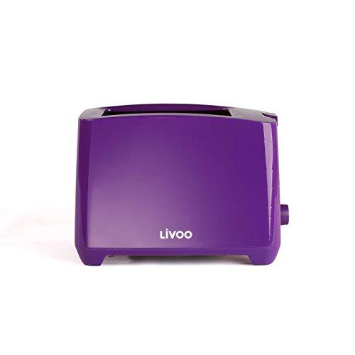 Tostapane viola con cassetto raccoglibriciole termostato regolabile (spegnimento manuale, 750 Watt,...