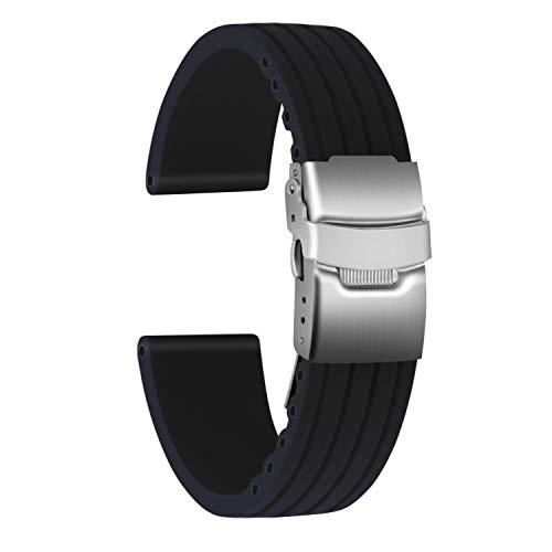 Ullchro Cinturini Orologi Impermeabile Orologi Bracciale Donna Uomo Stripe Pattern - 16mm, 18mm, 20mm, 22mm, 24mm Gomma Cinturino Orologio Acciaio inossidabile Fibbia Deployante (22mm, nero)