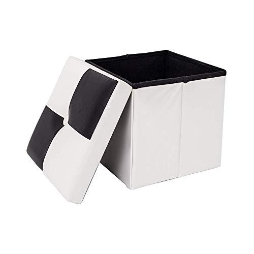 Rebecca Mobili RE4258 Puff Baule bianco e nero, imbottito, urban, salotto camera da letto,...