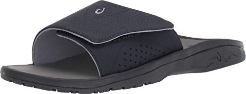 OLUKAI Men's Nalu Slide Sandals, Trench Blue/Charcoal (DE26), Size 11