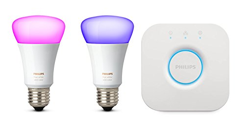 Philips Hue White and Color Ambiance Starter Kit con 2 Lampadine E27 e un Bridge, Compatibile con Google Assistant