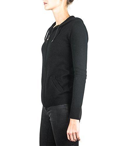 100% Kaschmir Damen Kapuzenpullover | Hoodie mit Reißverschluss (Schwarz, XL) - 3