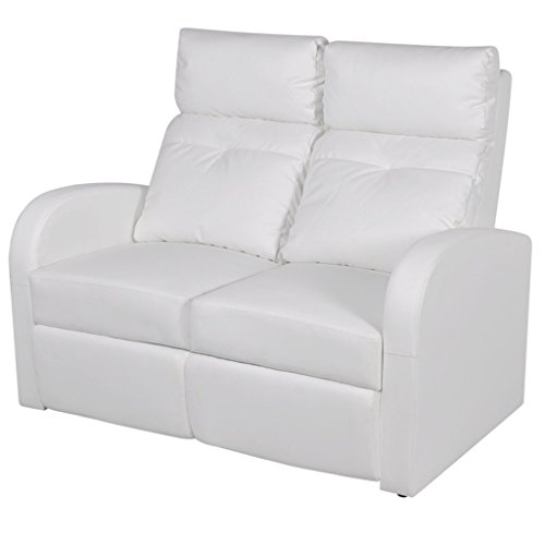 vidaXL Divano due posti reclinabile moderno elegante arredo casa ecopelle bianca