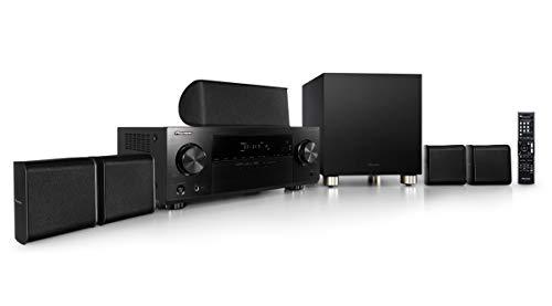Pioneer HTP-074(B) 5.1 Heimkinosystem mit AV Receiver und Lautsprecher Set (100 W/Kanal, Multiroom, Dolby TrueHD, Bluetooth, Radio, Front USB/Audio in, Eco Mode), Schwarz