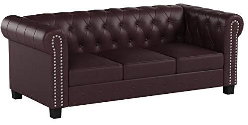 Divano 3 posti classico stile vittoriano Chesterfield ecopelle 90x195x74cm ~ bordeaux piedi quadrati