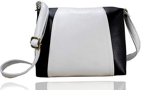 Fargo Motley PU Leather Women's & Girl's Cross Body Side Sling Bag (FGO-124) (White, Black)