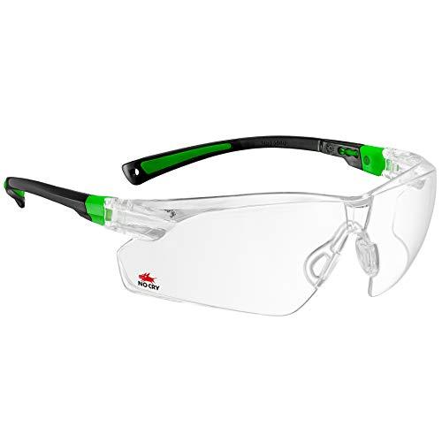 NoCry Schutzbrille mit durchsichtigen Anti-Beschlag und kratzbeständigen Gläsern, Seitenschutz und rutschfesten Bügeln, UV-Schutz, verstellbar (Schwarz & Grün)