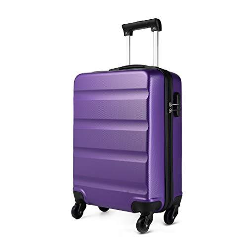 Kono Trolley ABS bagaglio a mano 55x38x20 cm Valigia rigida con 4 ruote (S,Porpora)