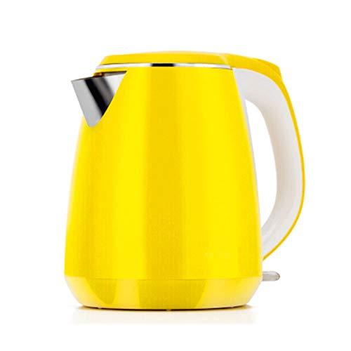 Wasserkocher Edelstahl 304 Doppel-Anti-Heißwasserkocher 1.5L Wasserkocher (Gelb)