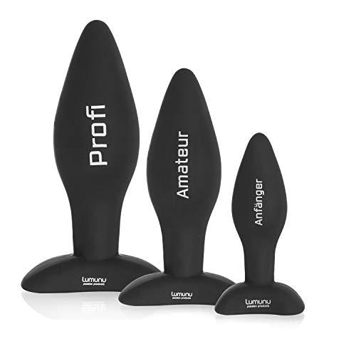 Deluxe Silikon Butt Plug Set (Ø 28 mm, Ø 40 mm & Ø 45 mm), Analplugs mit Standfuss
