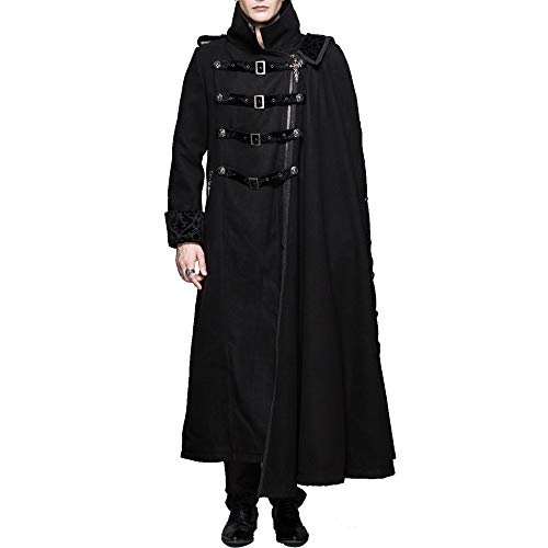 FAJOY Steampunk Hooded Trench Mens Gothic Tailcoat Jacket Costume di Halloween Cappotto Lungo Nero,L