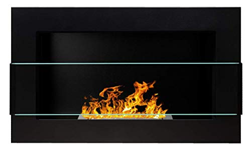 Bio Ethanol Fire BioFire Fireplace Modern 650 x 400 Black FLAT BACK ANY WALL MOUNTED (With Glass Panel)