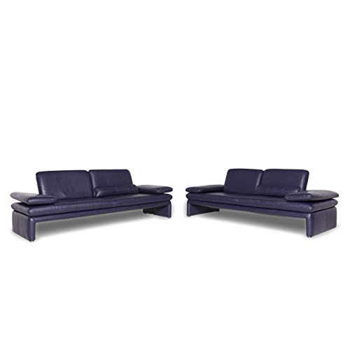 Willi Schillig leather sofa set Purple two-seater three-seater couch
