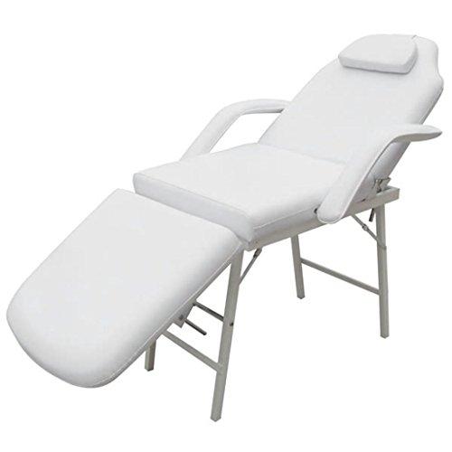 mewmewcat Sedia Poltrona Massaggio trattamenti Tattoo,Portatile Bianco,Sedia da Massaggio Portatile Similpelle Crema 3 Zone Lettino Estetista
