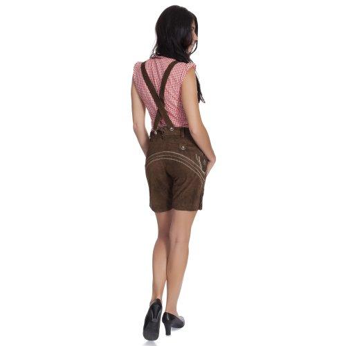 Gaudi-Leathers, Damen Trachten Lederhose Shorts kurz mit Träger in verschiedenen Farben, Braun (Dunkelbraun 015), W40 (Herstellergröße: 46) -