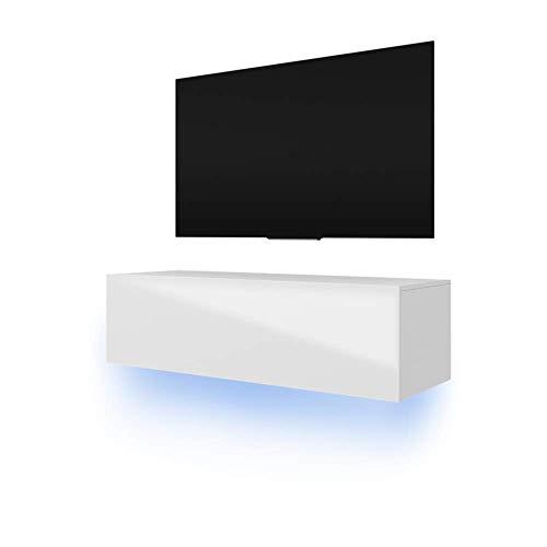 Lana - Mobile TV con LED da appendere, 140 cm, colore: Bianco opaco/Bianco lucido