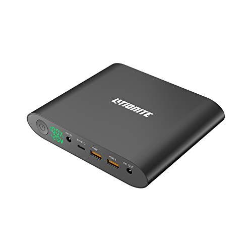 Litionite Tanker Mini 25000mAh Power Bank Batería Externa en Aluminio con LED Display - 2X USB (Quick Charge 3.0) - 1x USB Type-C - 1x DC - Cargador portátil para Ordenador/Macbook/Smartphone/Tablet