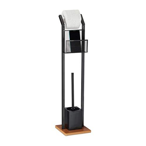 Relaxdays Garnitur mit Ablage, Papierhalter, WC-Bürste, Bürstenhalter, quadratischer Fuß, Holzoptik, H 78 cm, schwarz