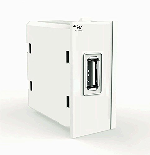 Wayona W220 1A Single USB Socket Charger For Anchor Roma Switch Plate (White)