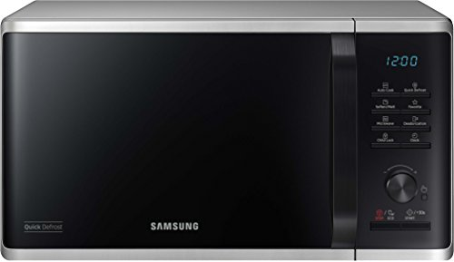 Samsung MW3500 MS23K3515AS / EG Solo Mikrowelle / 48,9 cm / Kratzfester Keramik-Emaille-Inneraum / 5 QuickDefrost Auftauprogramme / silber