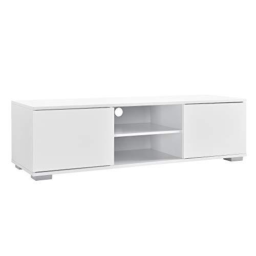 [en.casa] Mobile TV Mobile Soggiorno TV lowboard 34,5cm x 120cm x 40cm Bianco Lucido