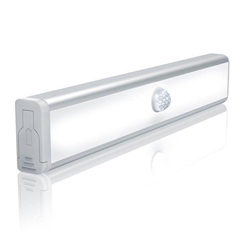 Bearware - Luce LED con sensore di movimento - 19 cm - 3000k - per armadi scale cantina - 10x LED...
