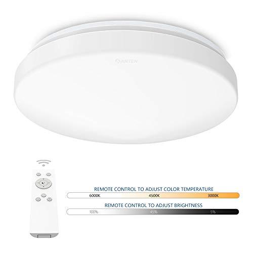 Anten Deckenleuchte LED dimmbar mit Fernbedienung | Rund Deckenlampe 24W Farbtemperaturwechsel 3000K-6500K | Beleuchtung für Wohnzimmer, Schlafzimmer, Esszimmer, Küche, Flur, usw. [Energieklasse A+]