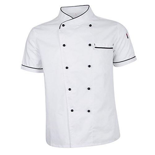 Baoblaze-Premium-Kurzarm-Kochjacke-Bckerjacke-Kochkleidung-Koch-Gastronomie-Berufsbekleidung-Chef-Jacke-Mantel-Restaurant-Koch-Uniform