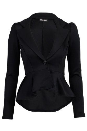 8ec8e87e03e Made By Malaika® New Ladies Long Sleeve Tailored Peplum Cropped Blazer  Women s Slim Fit Jacket Business Office Work Formal Evening Coat Plus Size  8-26