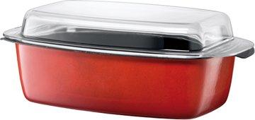 Silit Energy Red Bräter rechteckig, mit Glasdeckel 39 x 22 x 15 cm, Silargan Funktionskeramik, induktionsgeeignet, rot, 5,3 l