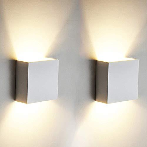 2 Pezzi 6W LED Applique da parete Lampada da Parete Bianco Caldo 3000k Moderno in Alluminio per...
