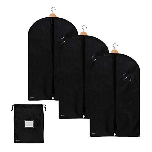 3 x Premium Kleidersack von Bruce. inkl. Schuhbeutel | 100 x 60 cm | Optimierte Materialstärke von 120 GSM | Hochwertige Kleiderhülle für Anzug und Kleid | Atmungsaktive Anzugtasche für Reisen